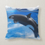 Jumping Orca Whale Throw Pillow